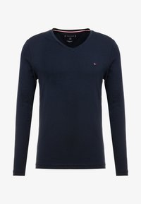 Tommy Hilfiger - STRETCH SLIM FIT VNECK TEE - Long sleeved top - blue - 3