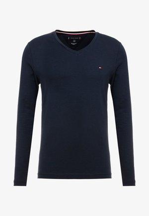 STRETCH SLIM FIT VNECK TEE - Maglietta a manica lunga - blue