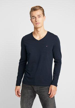 STRETCH SLIM FIT VNECK TEE - Camiseta de manga larga - blue