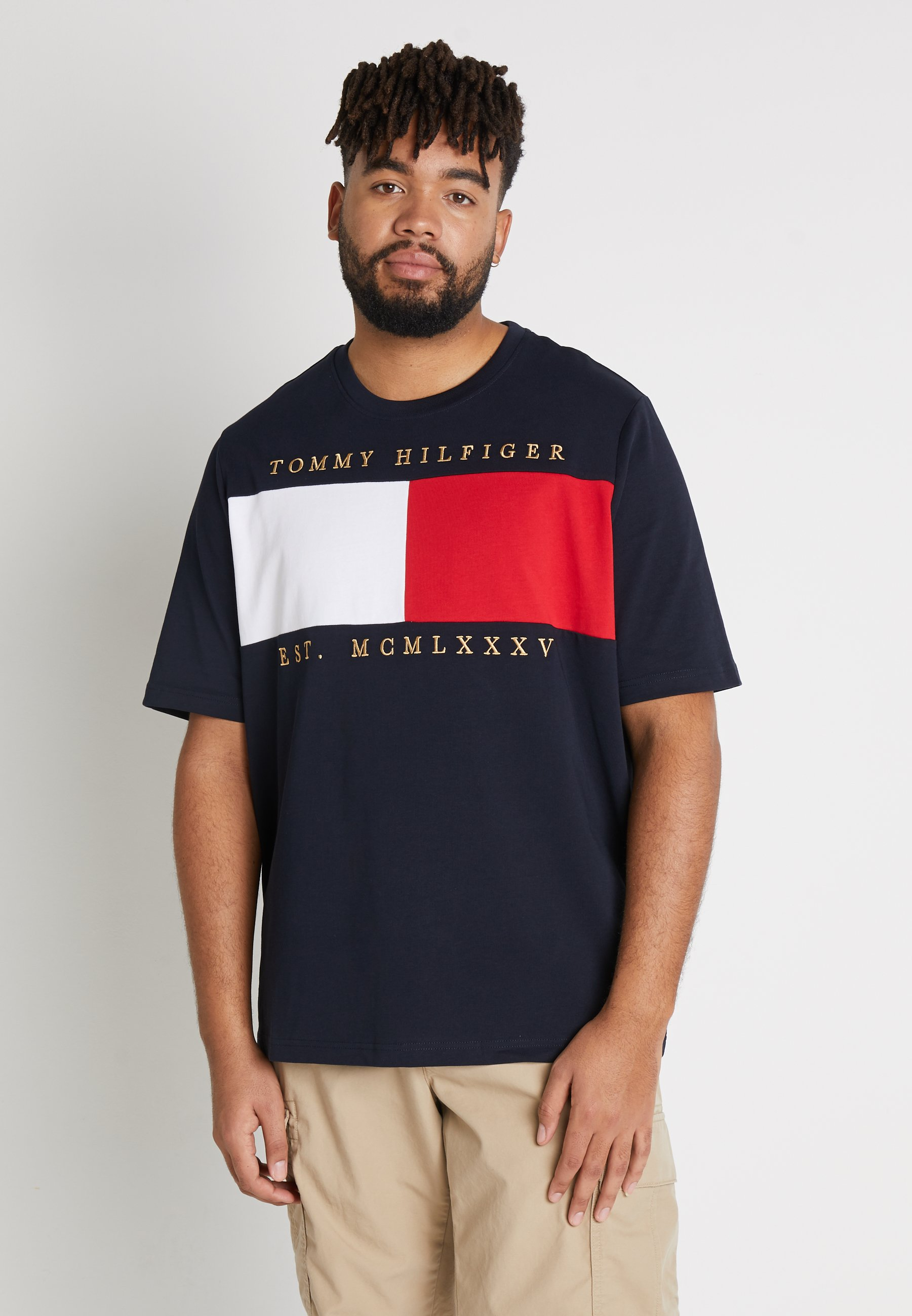 Tommy Hilfiger FLAG CHEST EMBRDRY TEE - T-shirt z nadrukiem - blue