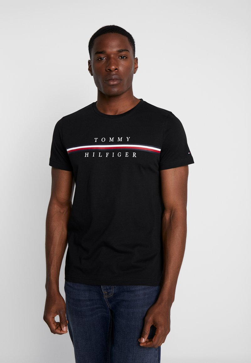 Tommy Hilfiger - CORP SPLIT TEE - Print T-shirt - black