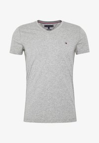 Tommy Hilfiger - STRETCH SLIM FIT VNECK TEE - T-shirt basic - grey - 4