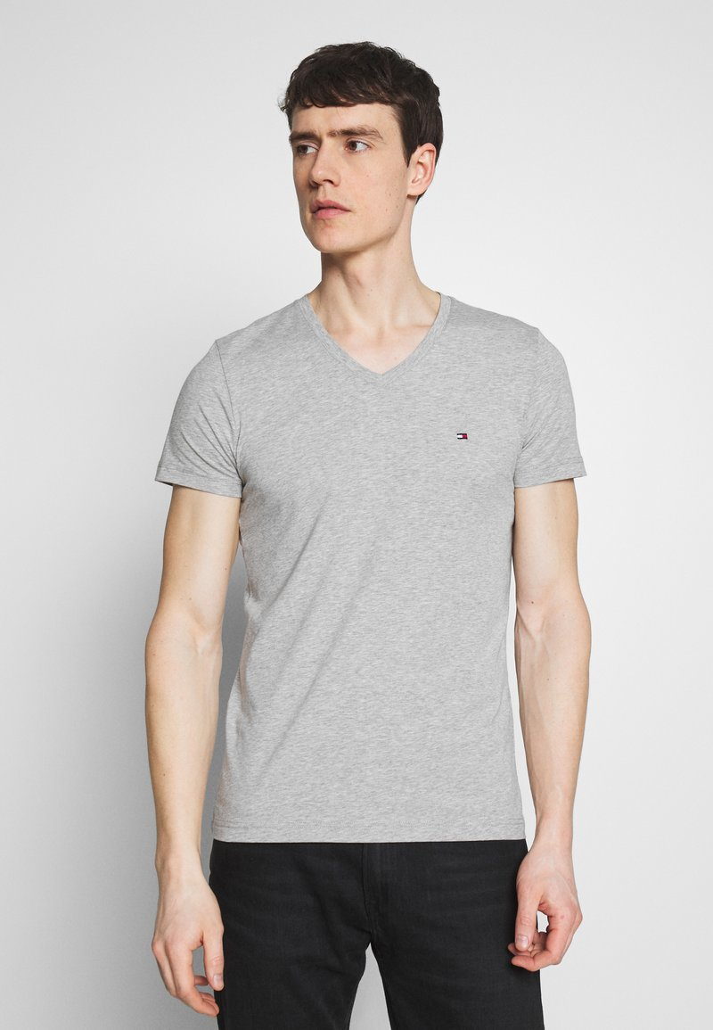 Tommy Hilfiger - STRETCH SLIM FIT VNECK TEE - T-shirt basic - grey