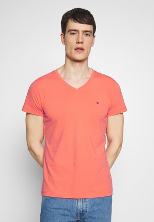 STRETCH SLIM FIT VNECK TEE - T-shirt basique - orange