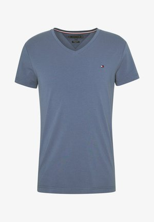 STRETCH SLIM FIT VNECK TEE - T-shirt basic - blue