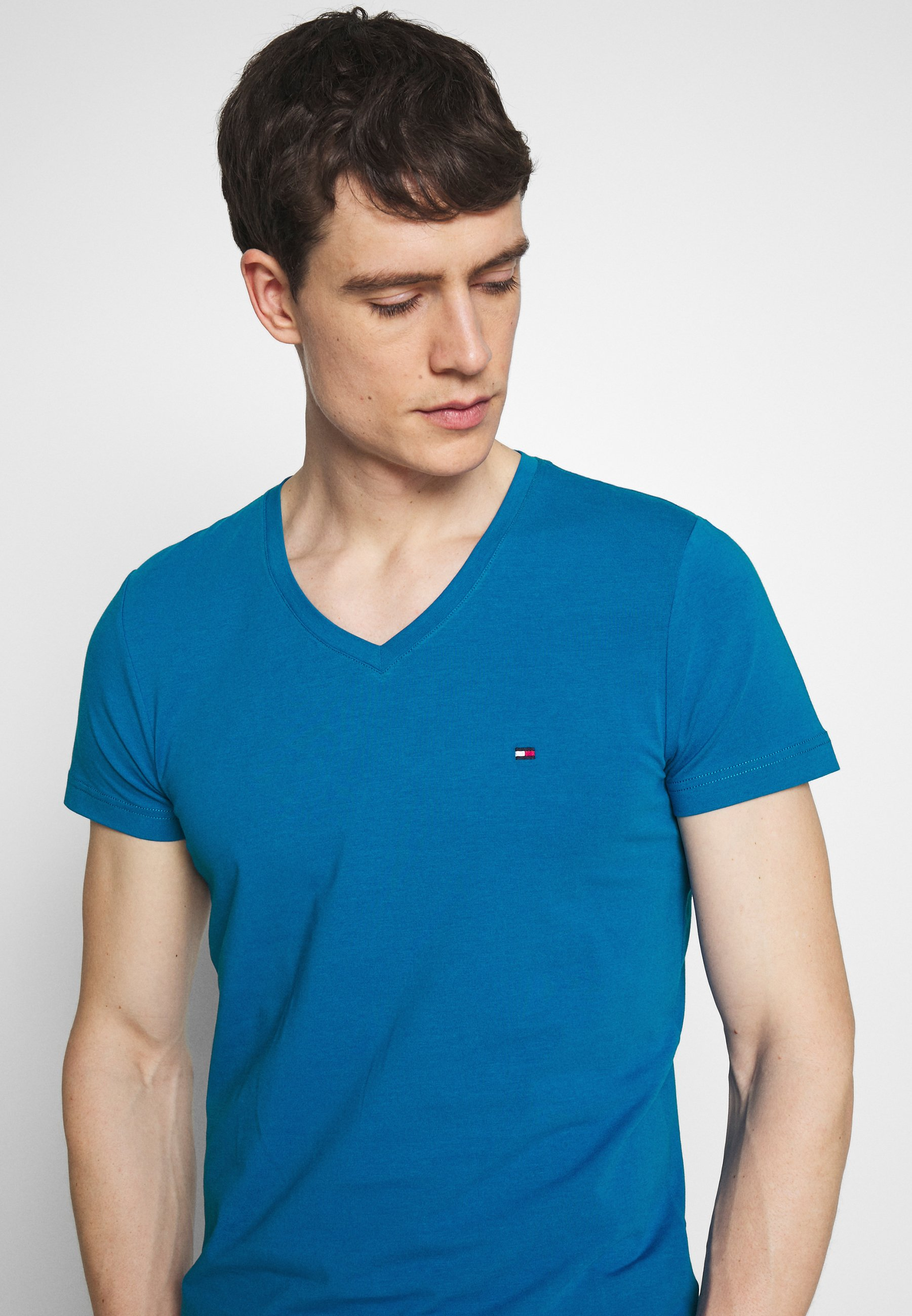 Tommy Hilfiger Stretch Slim Fit Vneck Tee - T-shirt Bas Blue