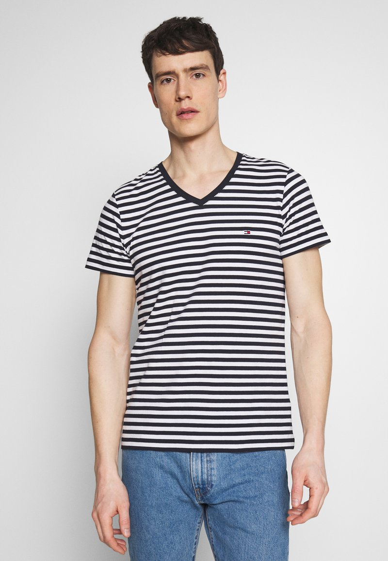 Tommy Hilfiger - STRETCH SLIM FIT VNECK TEE - T-shirt basique - blue/white