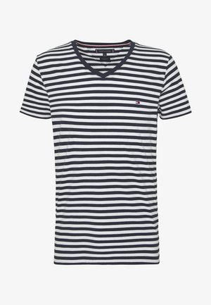 STRETCH SLIM FIT VNECK TEE - Basic T-shirt - blue/white
