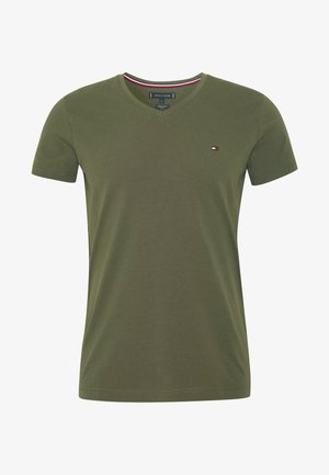 STRETCH SLIM FIT VNECK TEE - T-shirt basic - khaki