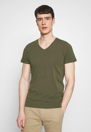 STRETCH SLIM FIT VNECK TEE - T-shirt basic - khaki