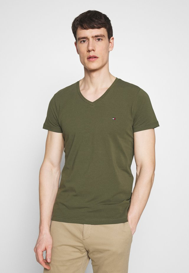 STRETCH SLIM FIT VNECK TEE - Camiseta básica - khaki
