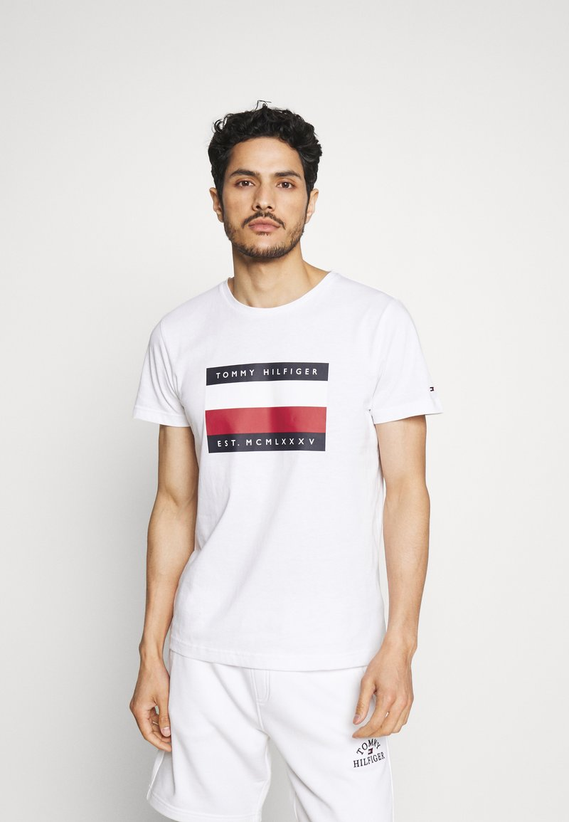 Tommy Hilfiger - CORP STRIPE BOX TEE - Print T-shirt - white