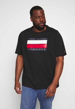 CORP STRIPE BOX TEE - T-shirt z nadrukiem - black