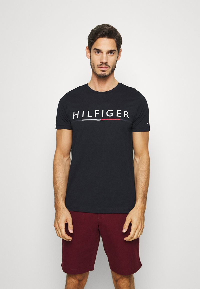 Tommy Hilfiger - GLOBAL STRIPE TEE - T-shirts print - blue