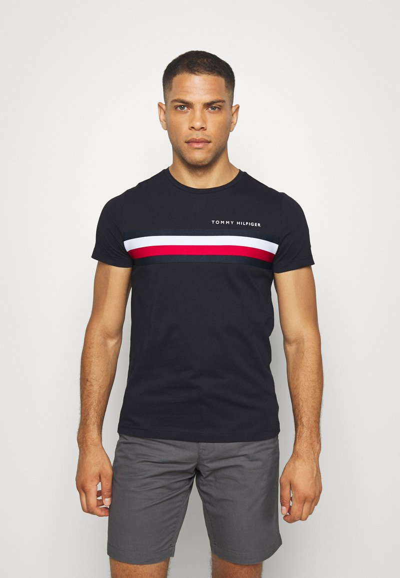Tommy Hilfiger - GLOBAL STRIPE TEE - Print T-shirt - blue