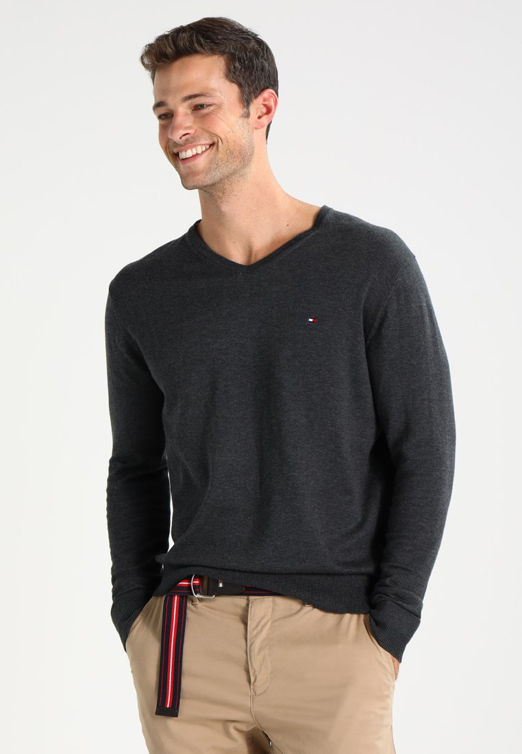 Tommy Hilfiger - V-NECK  - Jumper - charcoal heather