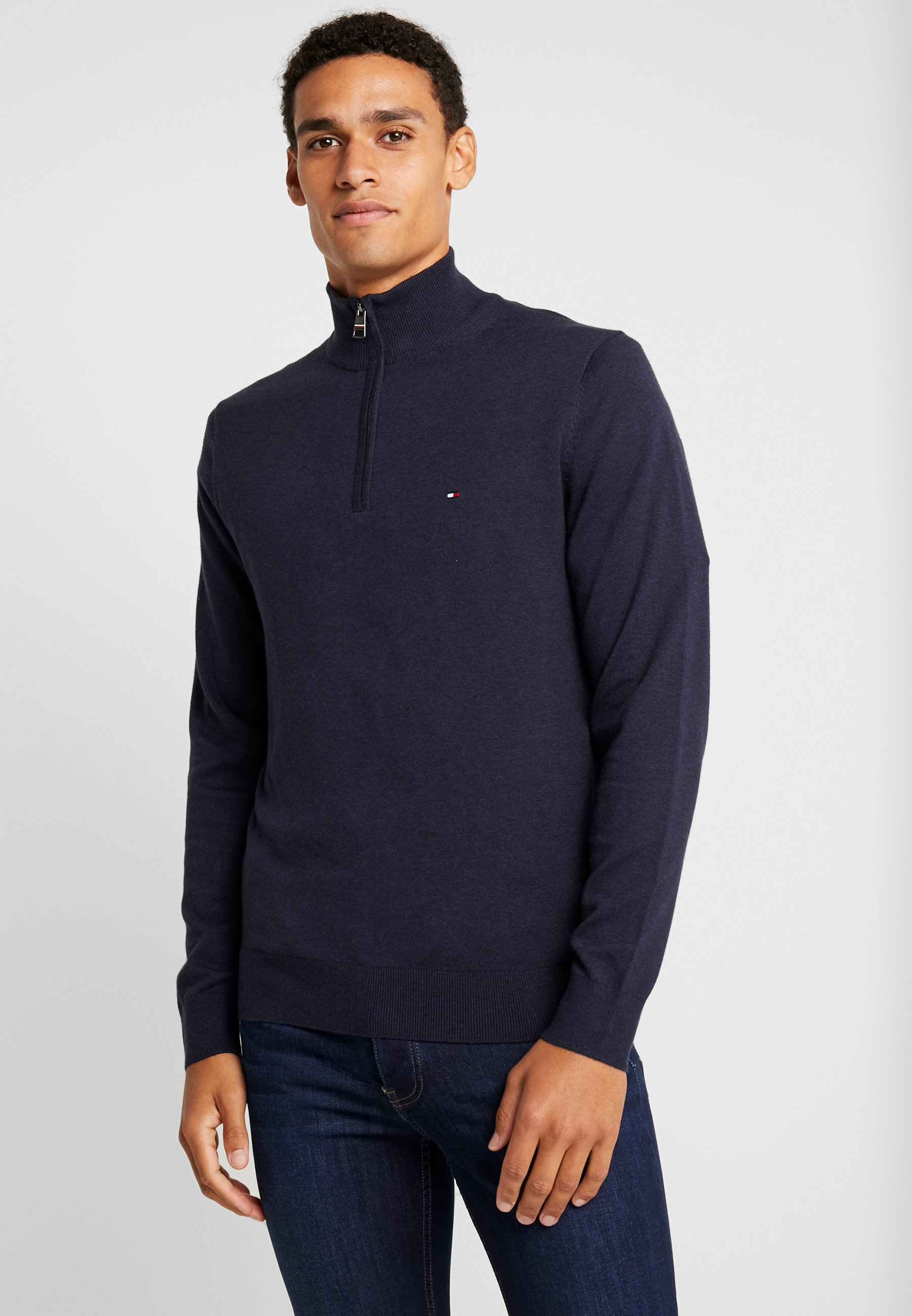 Silk Zip Mock   Strikpullover /Striktrøjer by Tommy Hilfiger