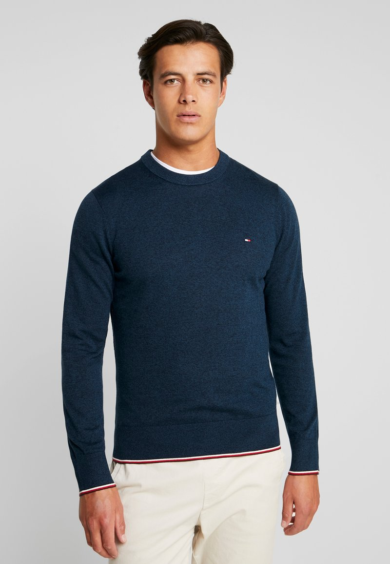Tommy Hilfiger - TIPPED CREW NECK - Neule - blue