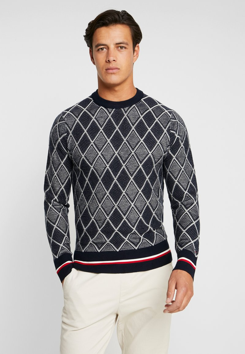 Tommy Hilfiger - TIPPED TWO COLOR ARGYLE - Jumper - blue