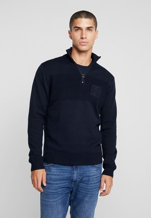PLACED STRUCTURE  ZIP MOCK - Sweter - blue