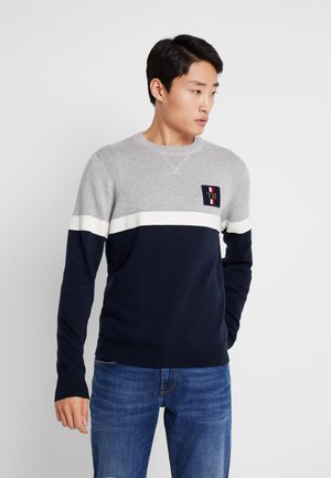CHEST BRANDED COLORBLOCK SWEATER - Sweter - grey