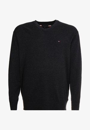 PIMA V NECK - Pullover - black
