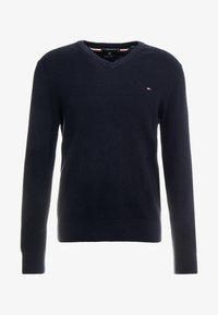 Tommy Hilfiger - STRUCTURED  V NECK - Strikkegenser - blue - 4