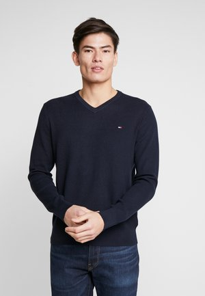 STRUCTURED  V NECK - Stickad tröja - blue
