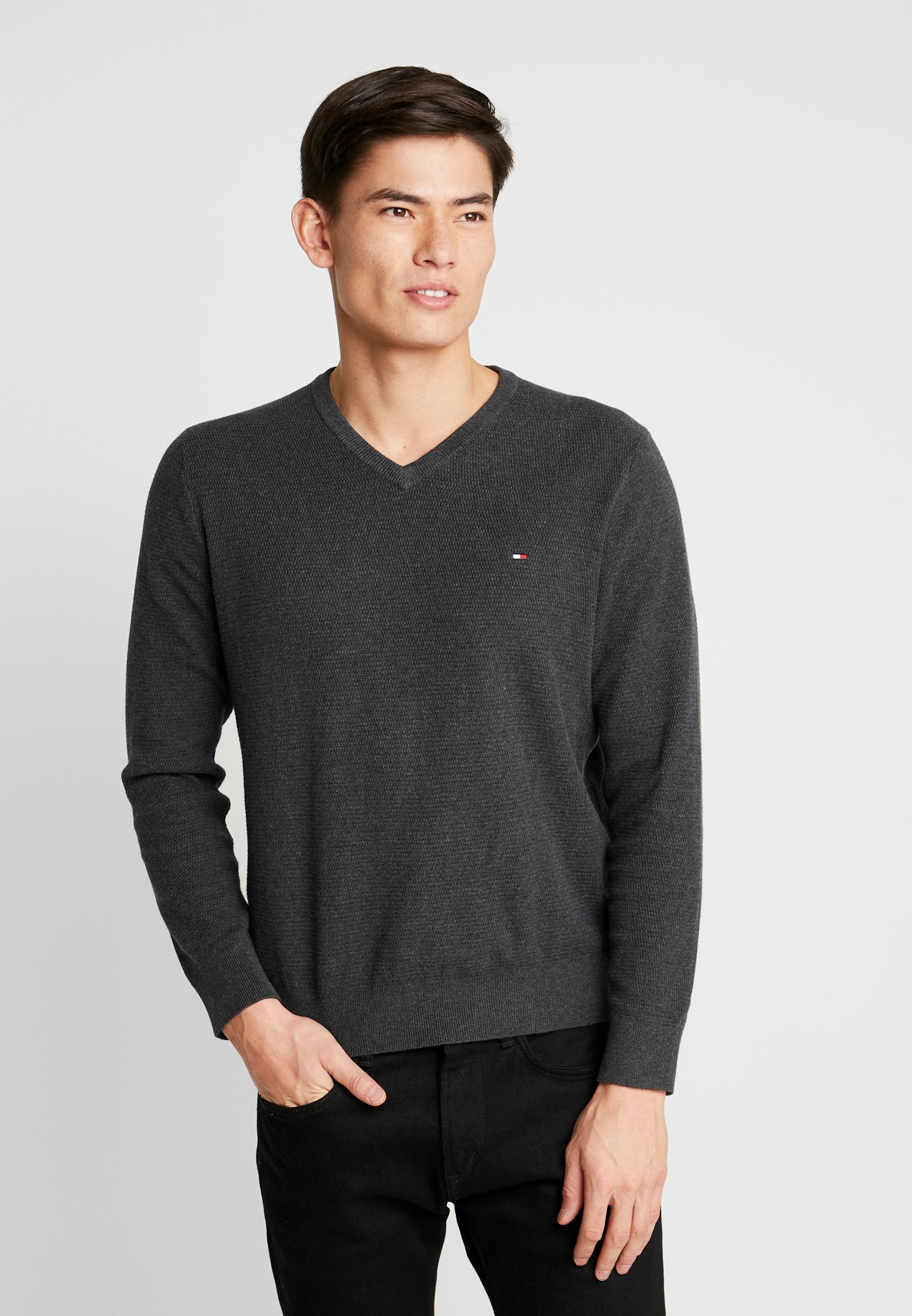 Tommy Hilfiger STRUCTURED V NECK - Sweter - grey