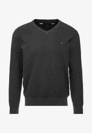 STRUCTURED  V NECK - Stickad tröja - grey