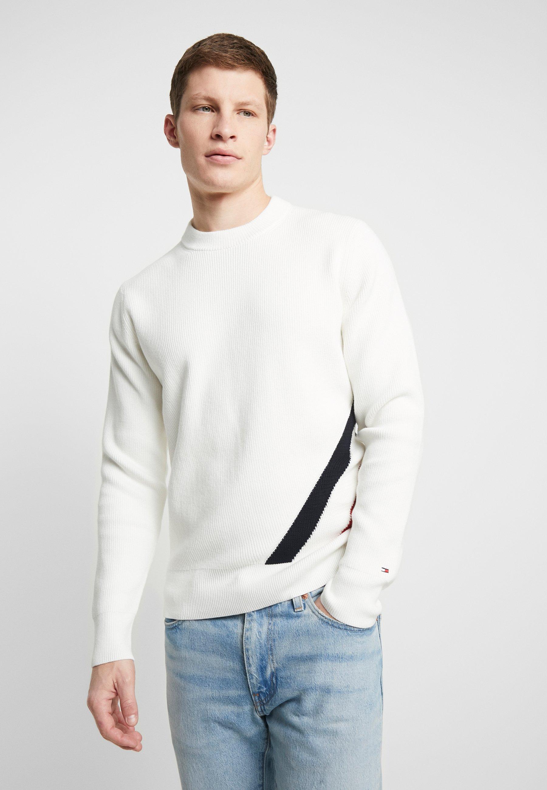 Tommy Hilfiger DIAGONAL GLOBAL STRIPE - Sweter - white