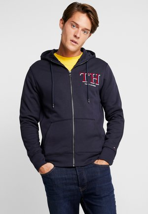 MONOGRAM HOODED ZIP THROUGH - Mikina na zip - blue