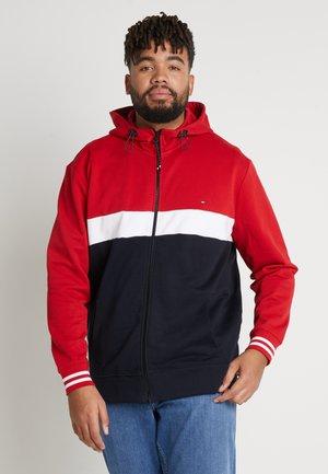COLORBLOCKD HOODED ZIP - Zip-up hoodie - red