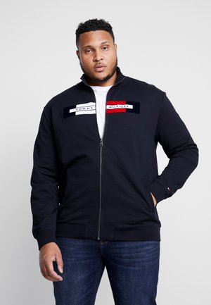 FLOCKED ZIP THROUGH - Hettejakke - blue
