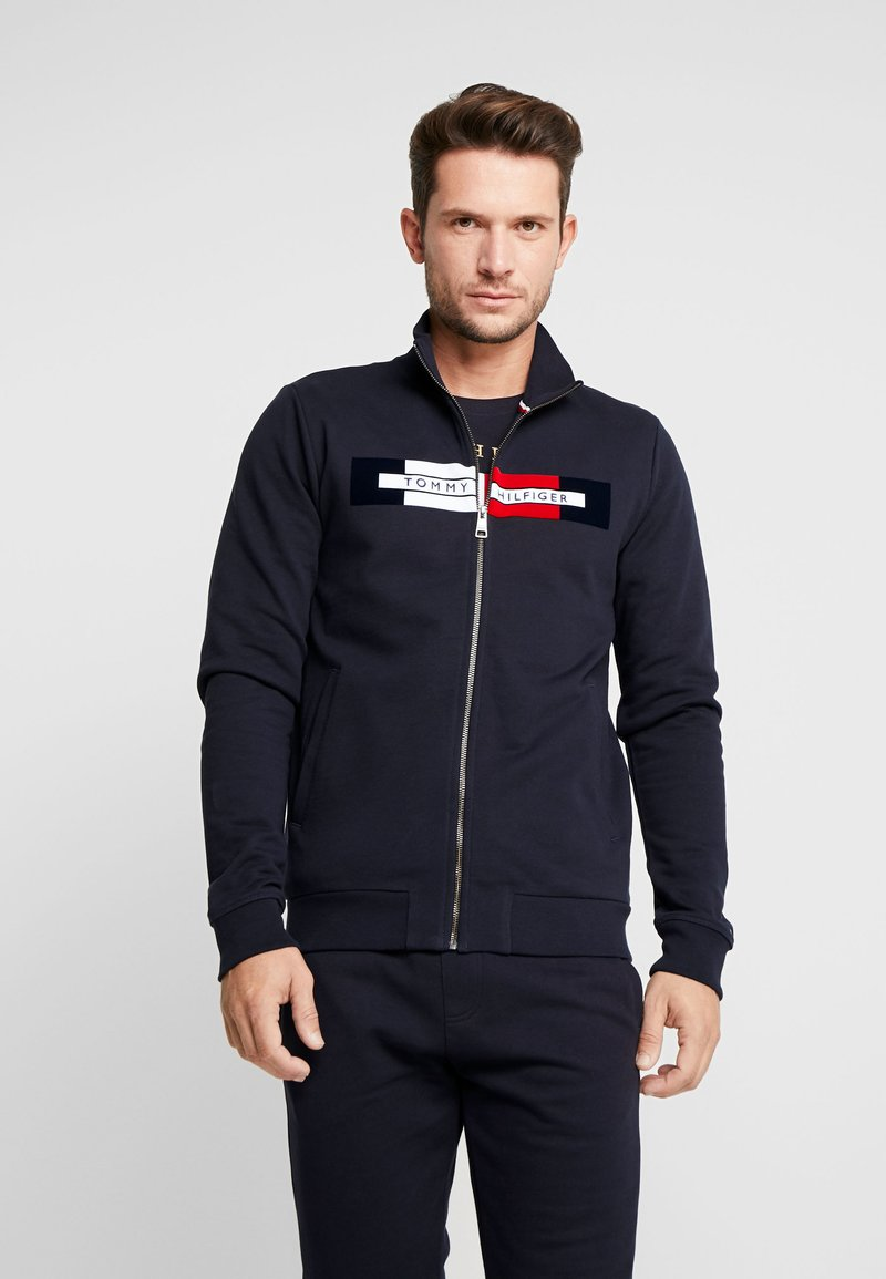 Tommy Hilfiger - FLOCKED ZIP THROUGH - Mikina na zip - blue