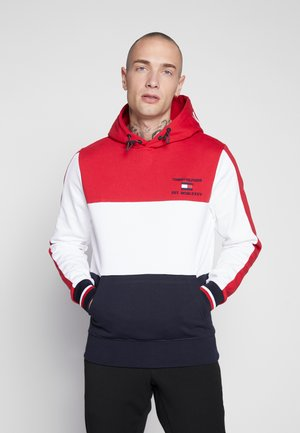 BRANDED COLORBLOCK HOODY - Hoodie - red