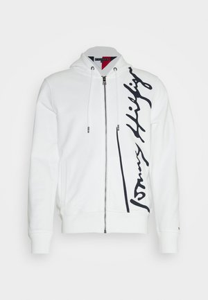 SIGNATURE HOODED ZIP THROUGH - Mikina na zip - white