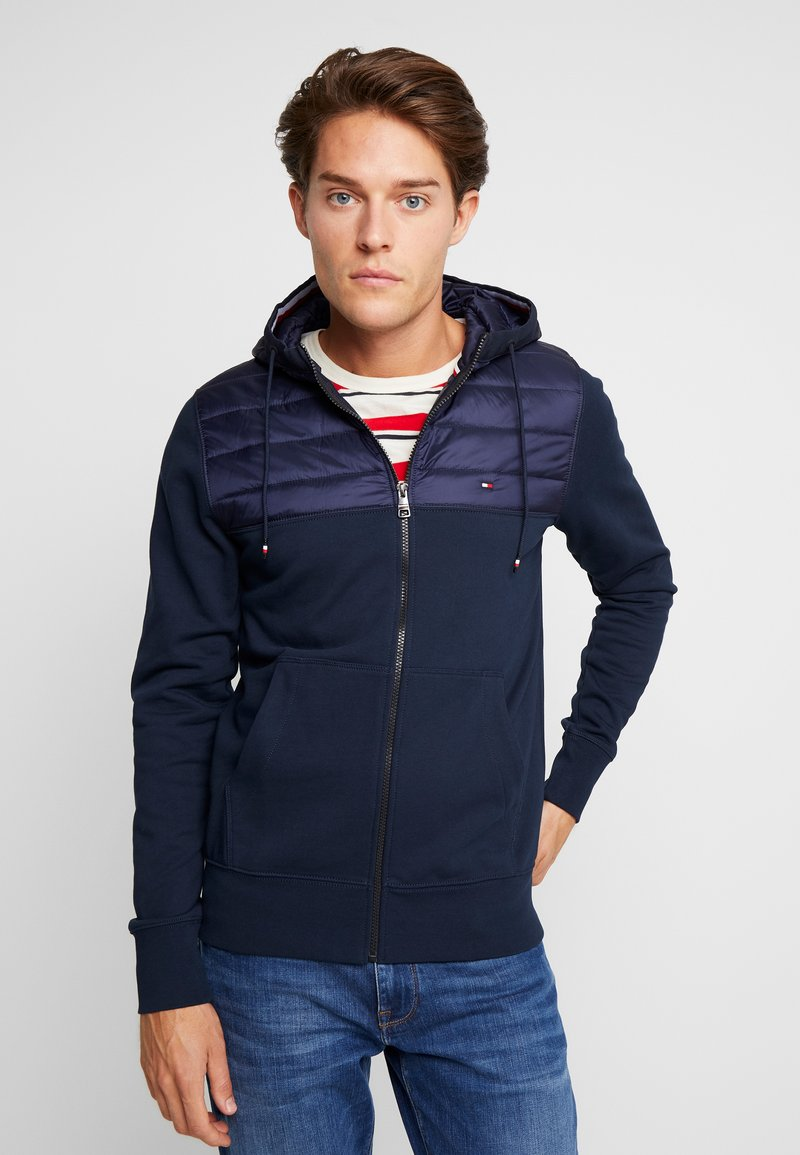 Tommy Hilfiger - MIXED MEDIA HOODED ZIP THROUGH - Kevyt takki - blue