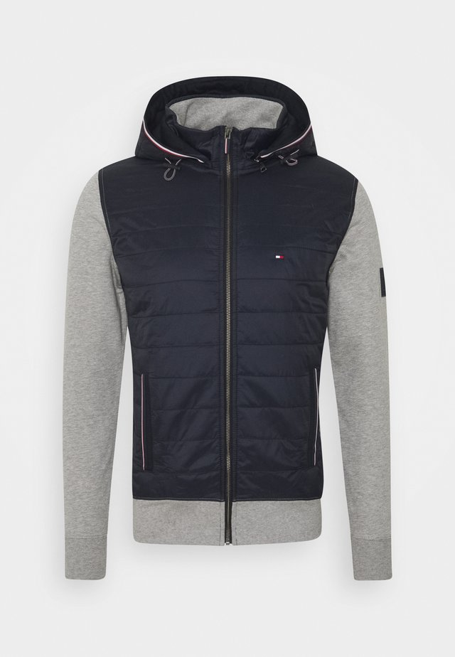 MIXED MEDIA HOODED ZIP THROUGH - Light jacket - grey