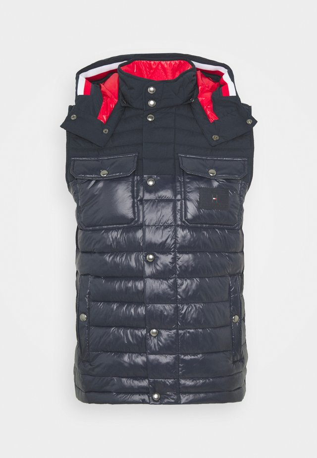 STRETCH QUILTED HOODED VEST - Chaleco - blue