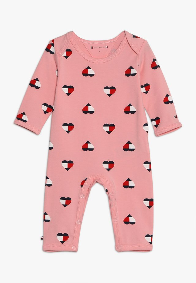 BABY ALL OVER PRINT COVERALL - Mono - pink icing