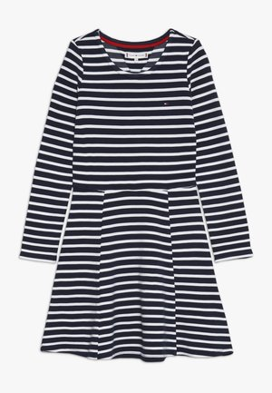 ESSENTIAL STRIPE SKATER DRESS - Žerzejové šaty - white