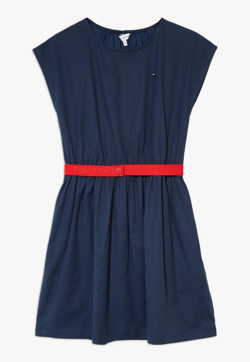 Tommy Hilfiger - SOLID BELTED DRESS - Jersey dress - blue