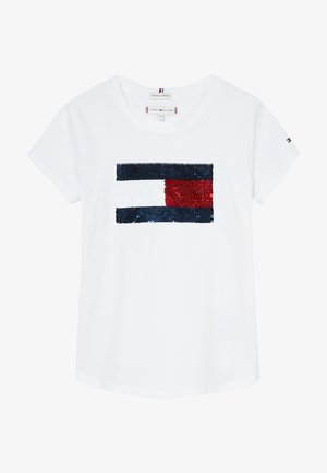 FLAG FLIP SEQUINS TEE - T-shirt imprimé - white