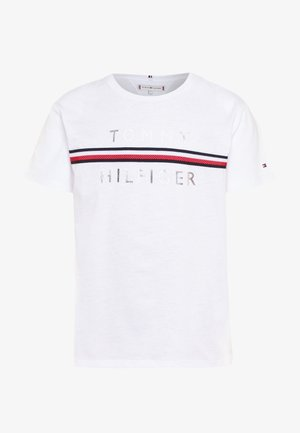 FLAG TAPE TEE - T-shirt z nadrukiem - white