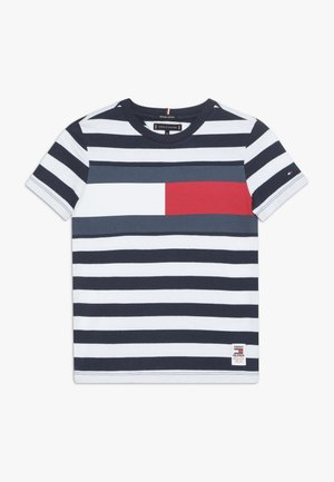 CUT SEW STRIPE TEE - Camiseta estampada - blue