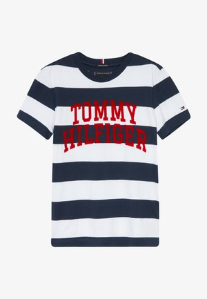 RUGBY STRIPE GRAPHIC TEE - T-shirt z nadrukiem - blue