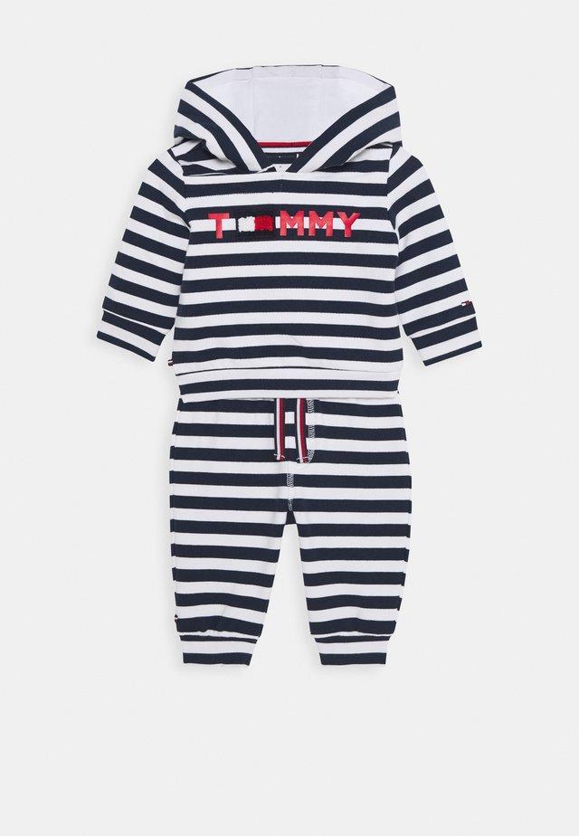 BABY STRIPED HOODIE SET - Sudadera con cremallera - blue