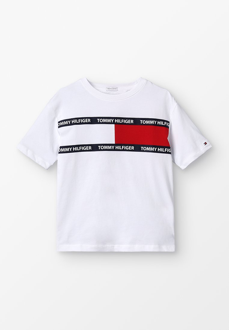Tommy Hilfiger - FLAG TEE - T-shirts print - white