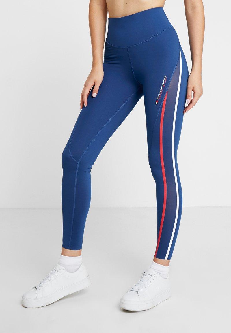 Tommy Sport - HIGH WAIST - Leggings - blue